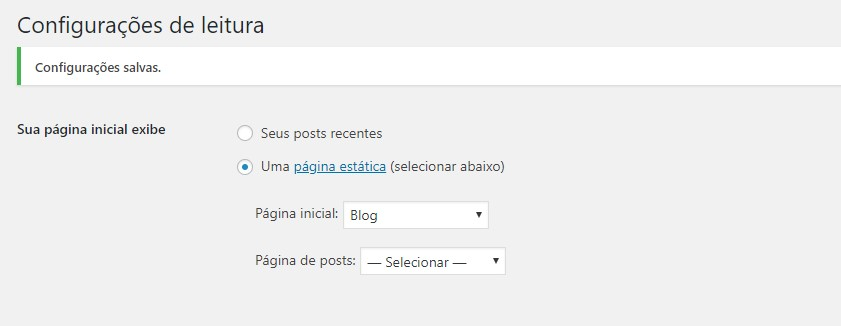 Configuração geral página inicial de blog