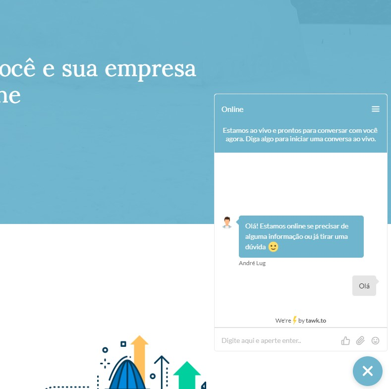 chat para site, resposta