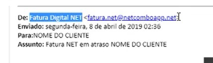 Remetente phishing falso